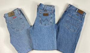 Vintage Original Wrangler Light Blue Denim Jeans Waist 31 Length 32