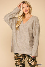 Load image into Gallery viewer, V-neck Solid Soft Sweater Top With Cut Edge