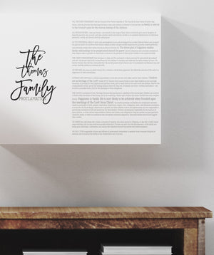Personalized Proclamation Prints, LDS family proclamation print, large proclamation print