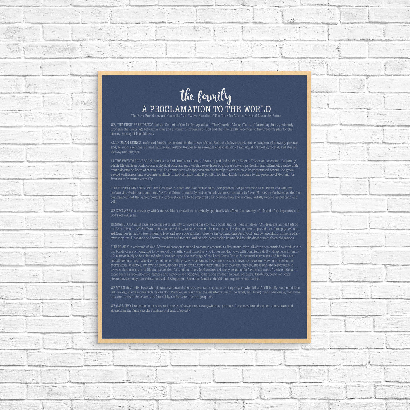 proclamation to the family print, 11x14 print, customize proclamation, lds art