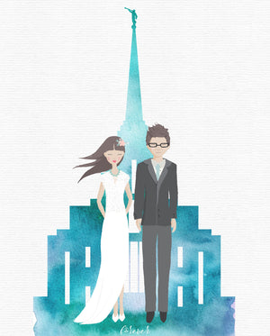 watercolor temple wedding portrait, bride and groom, lds wedding portrait