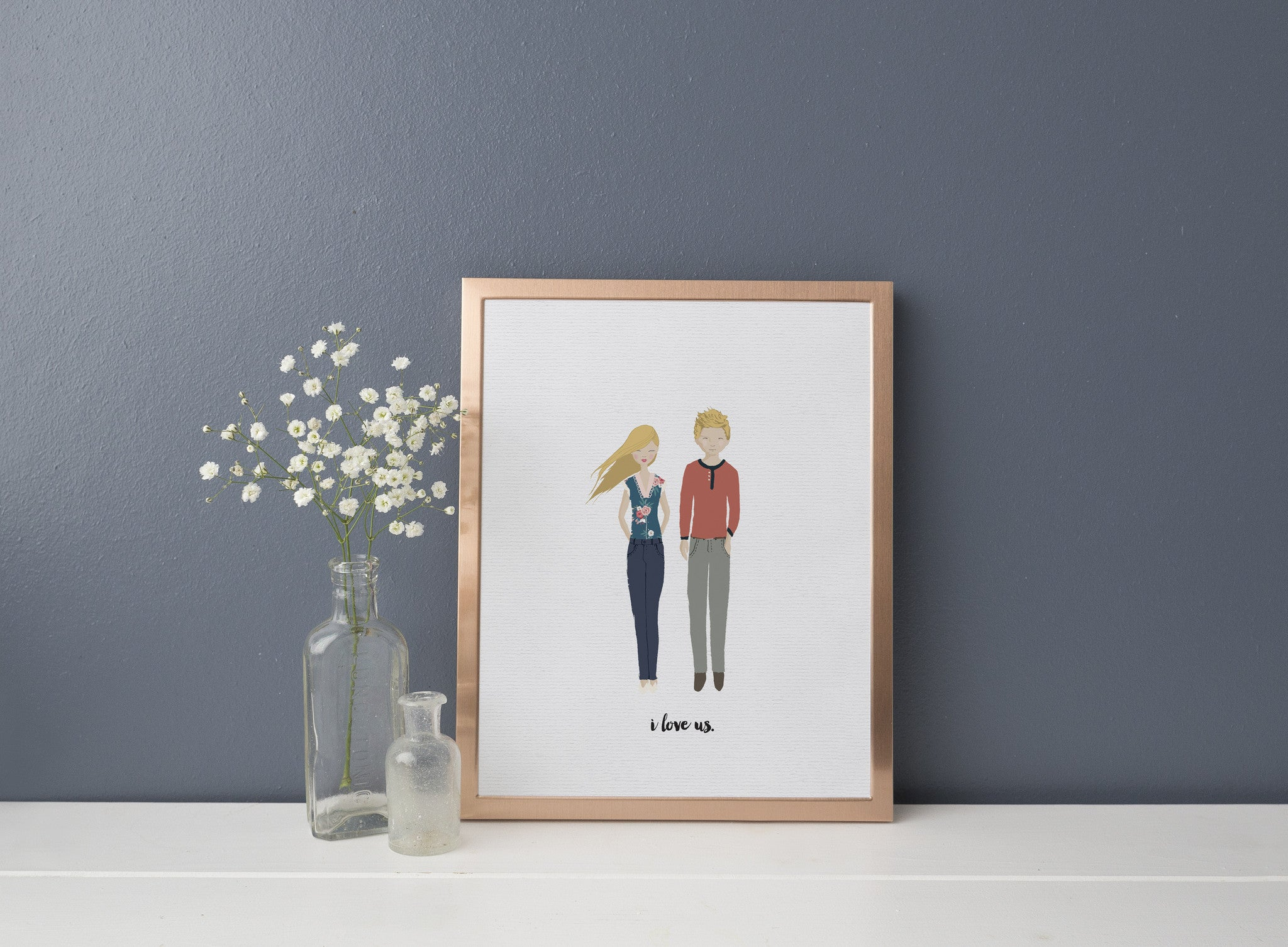 whimsical couple portrait, wedding gift, customized portrait, sale