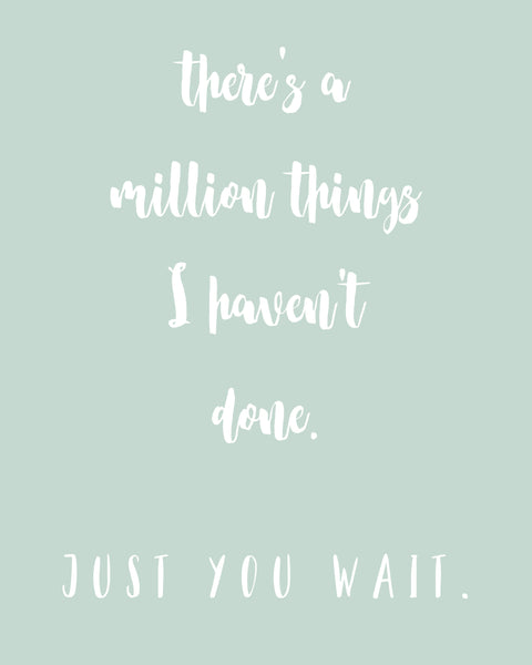 there's a million things I haven't done just you wait print, home print, hamiliton