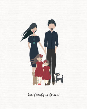add a pet to your portrait, whimsical family portrait with pets, fur babies
