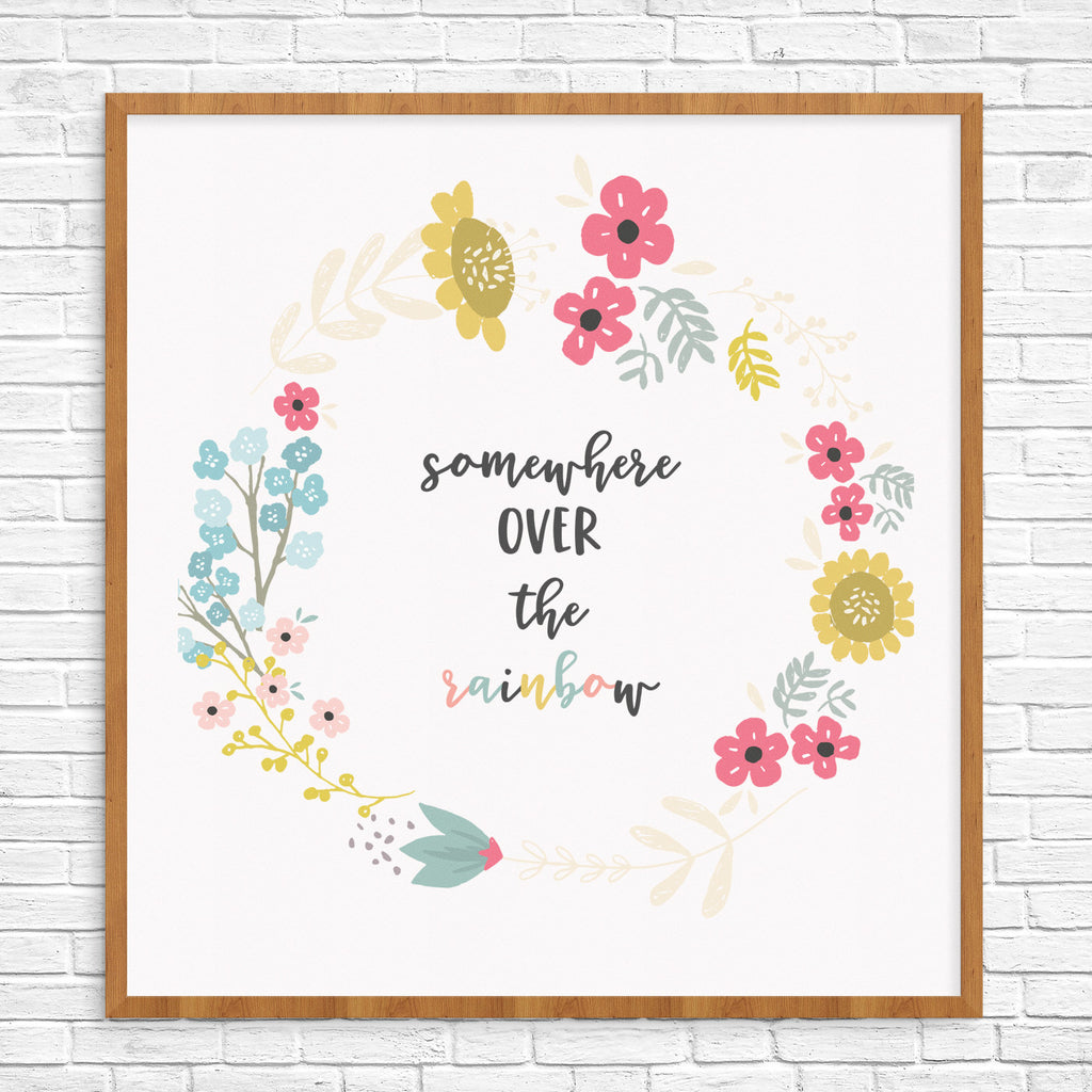 somewhere over the rainbow print, wall art, gallery wall, teen room decor