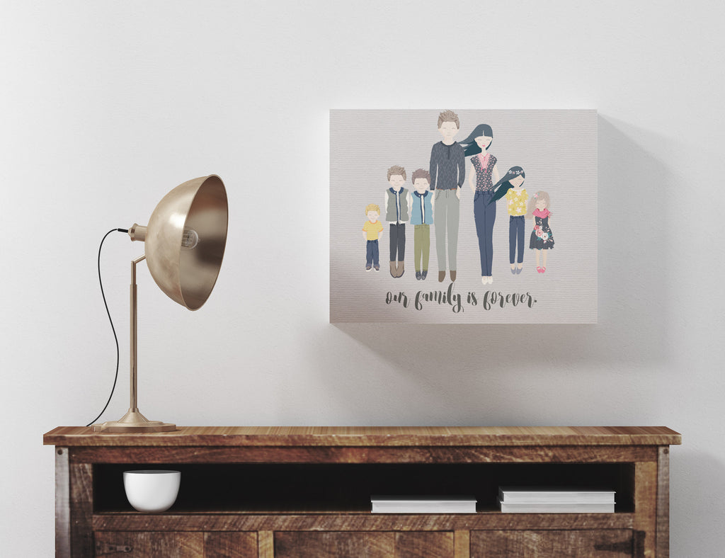 family portrait, whimsical portrait, customized family portrait, parents and children