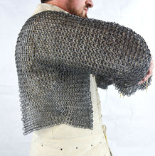 Load image into Gallery viewer, Chainmail Half Hauberk - Alternating Dome Riveted Flat Rings