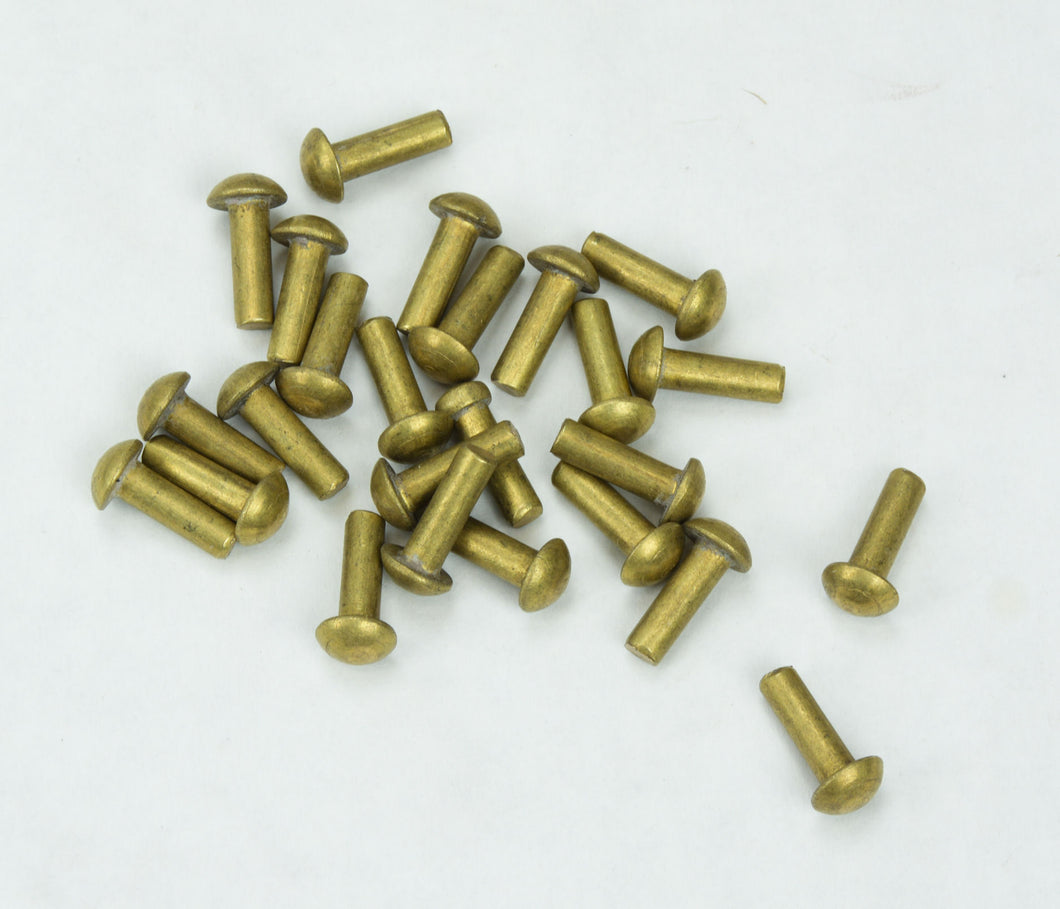 Brass Mushroom Head Rivets - Set of 25