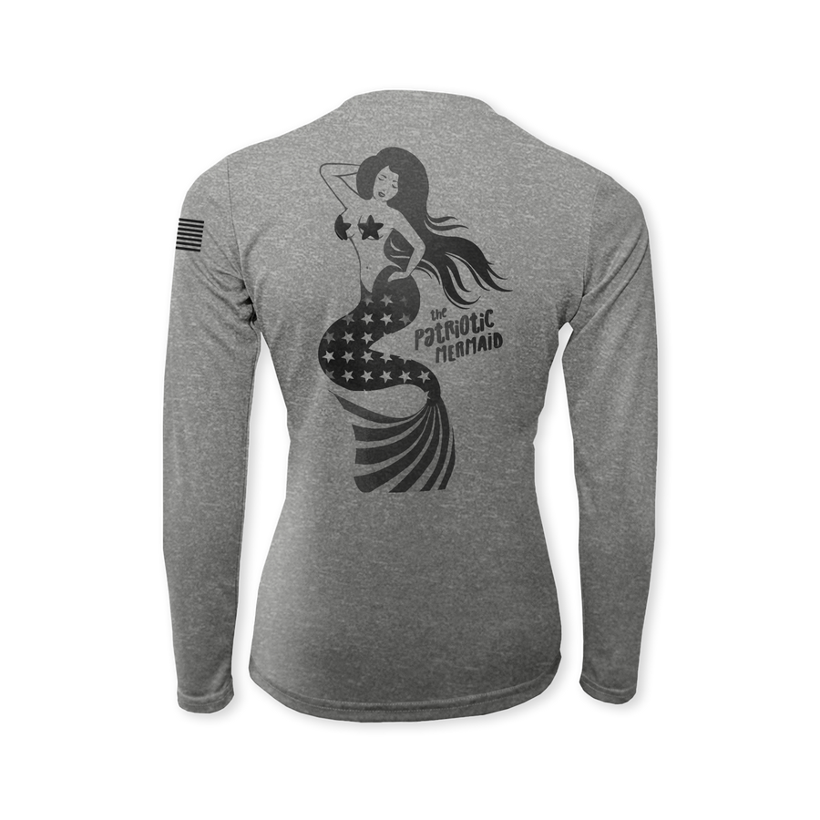 Patriotic Mermaid Performance Ladies Heather Long Sleeve