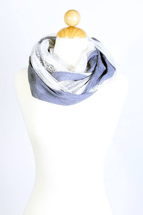 Lace Trim Infinity Scarf (Pack of 4)