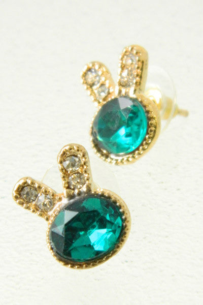 Gemstone Bunny Earrings