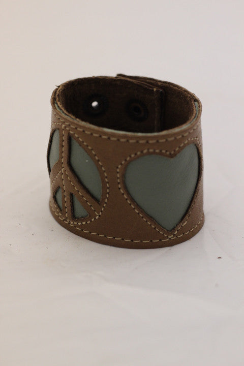 Peace and Love Leather Cuff (5 colors available)