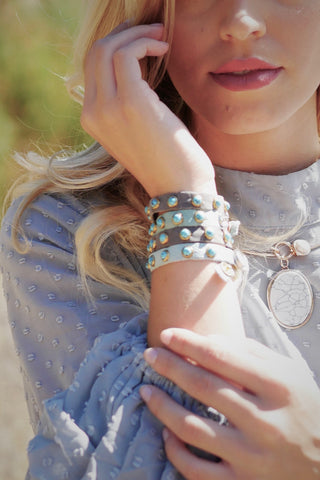 Turquoise Studded Cow Hide Layering Bracelet (3 Colors)