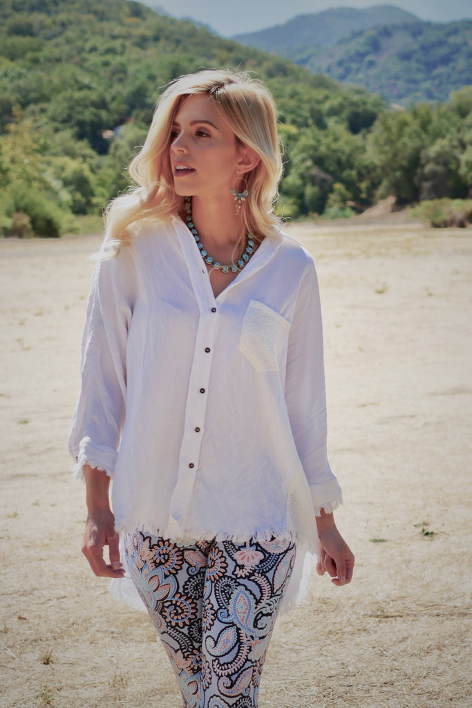 Washed Button Frayed Top - White