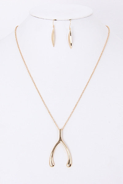 Wishbone Necklace - Charm Pendant Silver