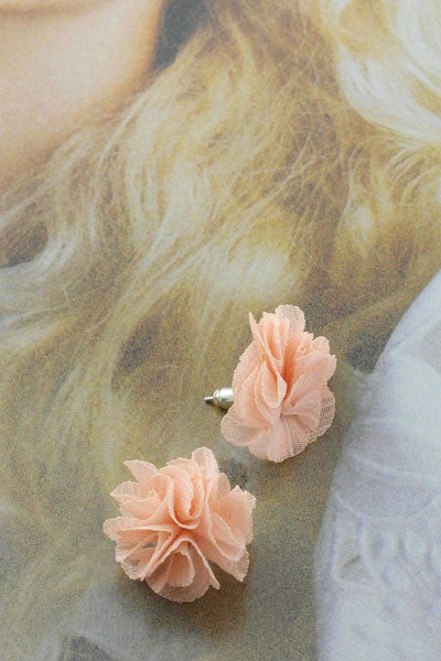 Fabric Flower Earrings