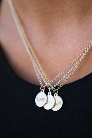 Peace, Hope and Love Necklace Set