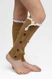 Knee High Button & Lace Leg Warmers (Pack of 3)