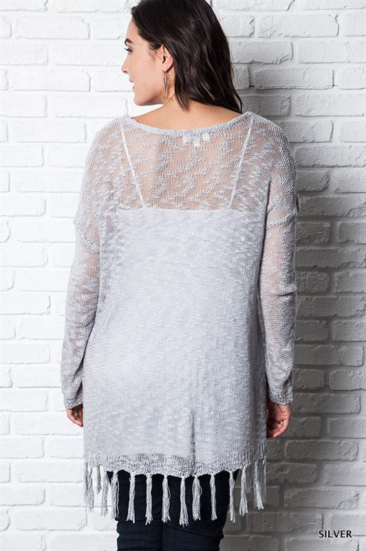Plus Silver Mesh Sweater