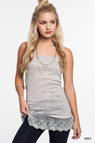 Cami Tank With Lace Ruffles (3 colors available)