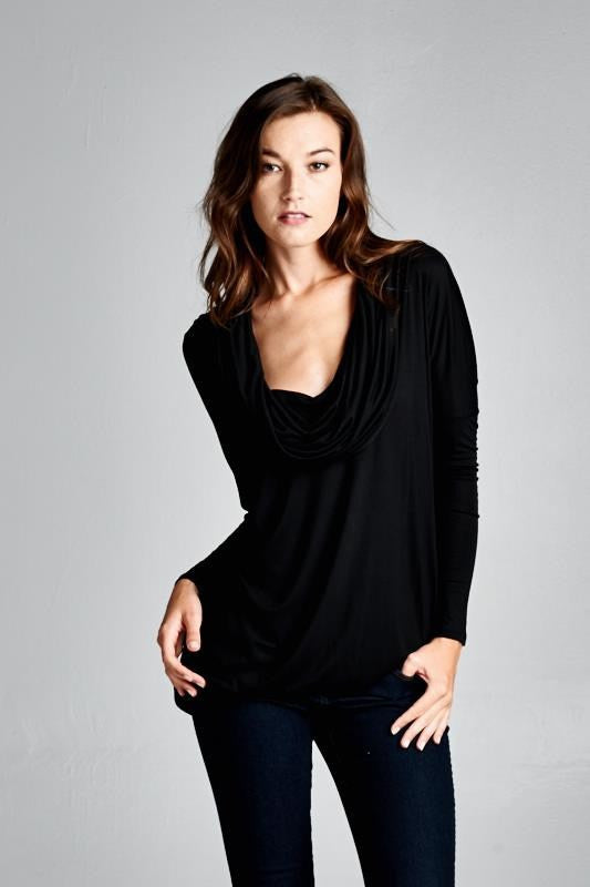 Slouchy Cowl Neck Top (2 colors)