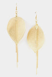 Leaf Tassle Drop Earrings