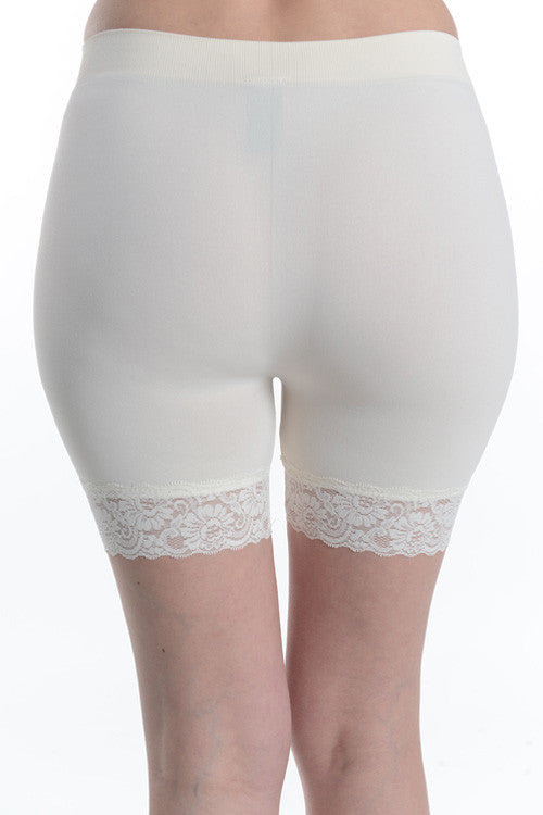 Lace Hem Seamless Shorts (Colors Available)