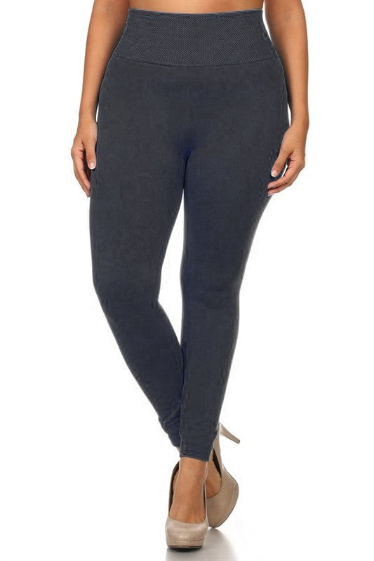High Waist Seamless Fleece Leggings - Plus