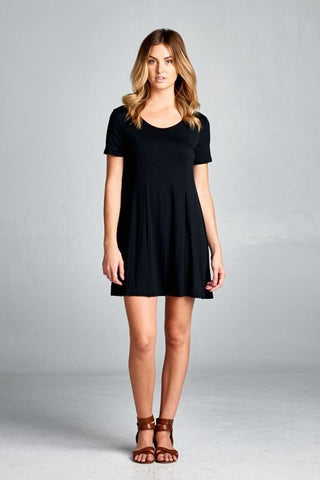 Round Neck Basic Tunic Top/Dress (Black)