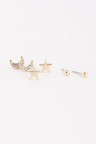 Moon & Stars Earring Set