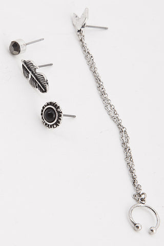 Chain Charm Earring Set (2 Colors Available)