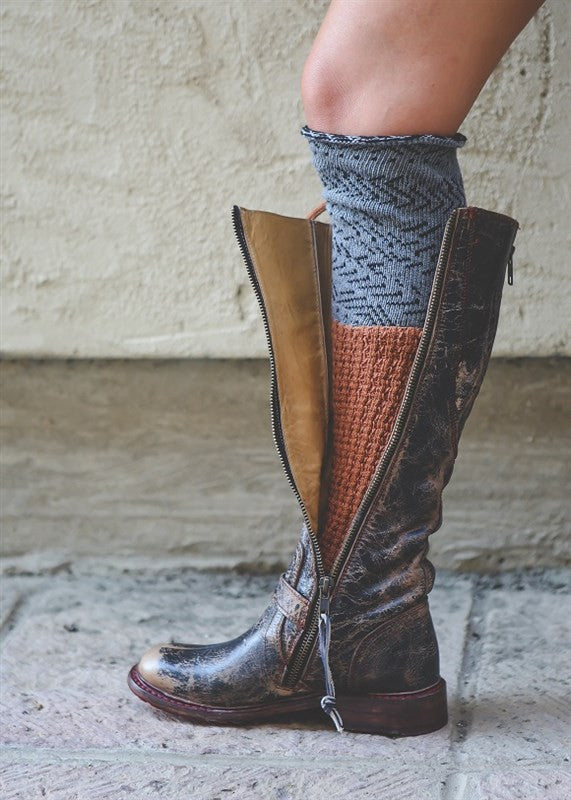 Mixed Fabric Leg Warmers