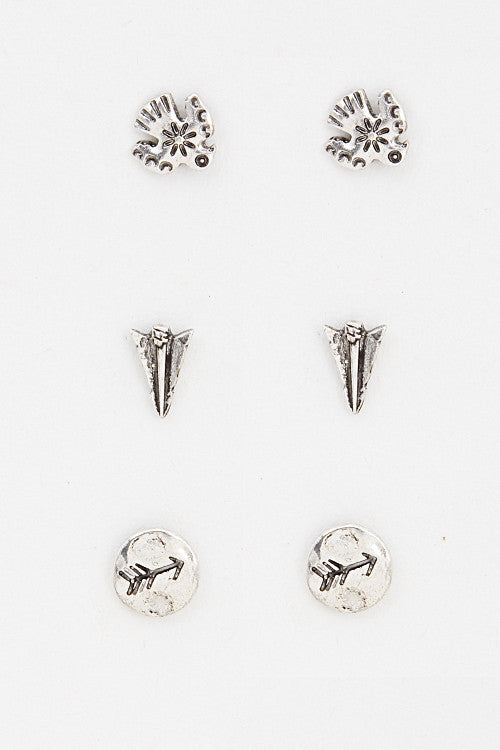 Cherokee Stamped Earring Set (2 Colors Available)