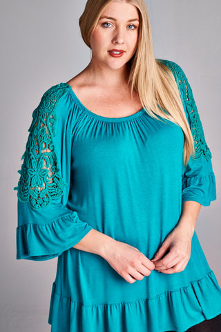 Sweet Lace Plus Flared Top