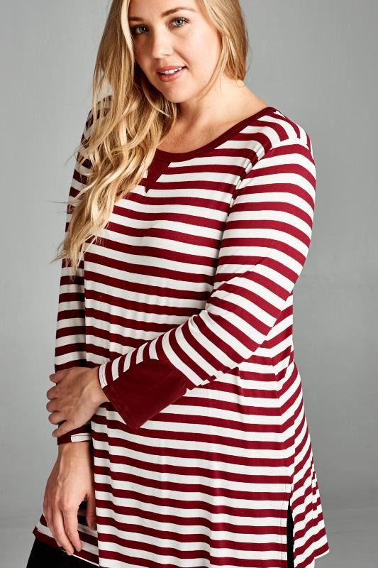 Collette Striped Plus Top
