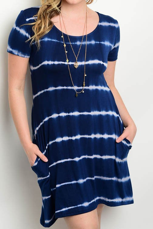 Navy Tie Dye Plus Dress