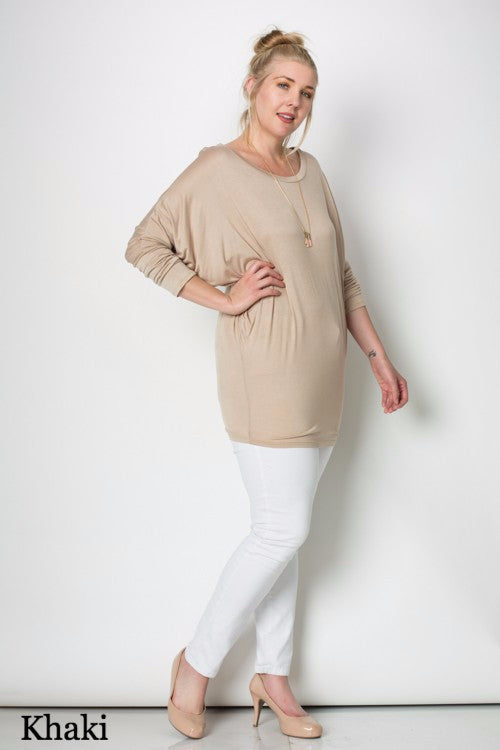 Long Sleeve Dolman Top Plus Size