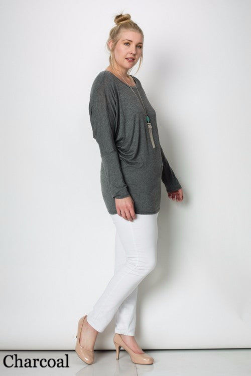 Long Sleeve Dolman Top Plus Size (Single or Pack of 3)