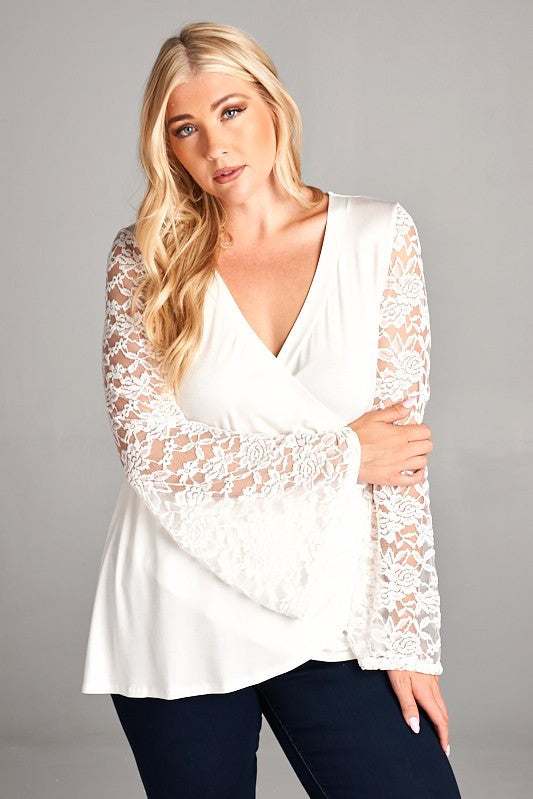 Lolita Lace Bell Sleeve Plus Top