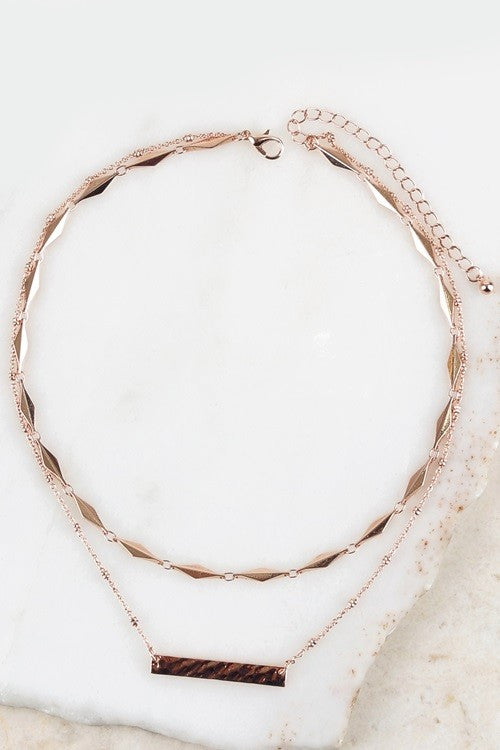 Textured Bar Necklace - Rose Gold