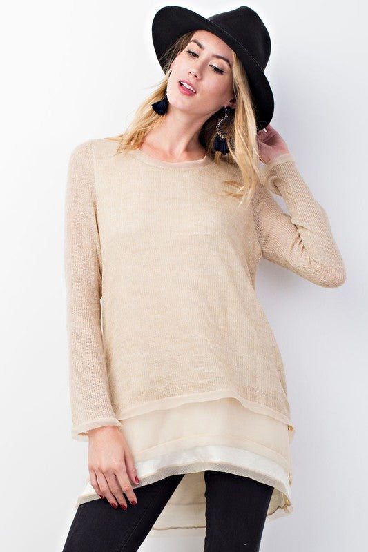 Layers Of Chiffon Sweater - Oatmeal