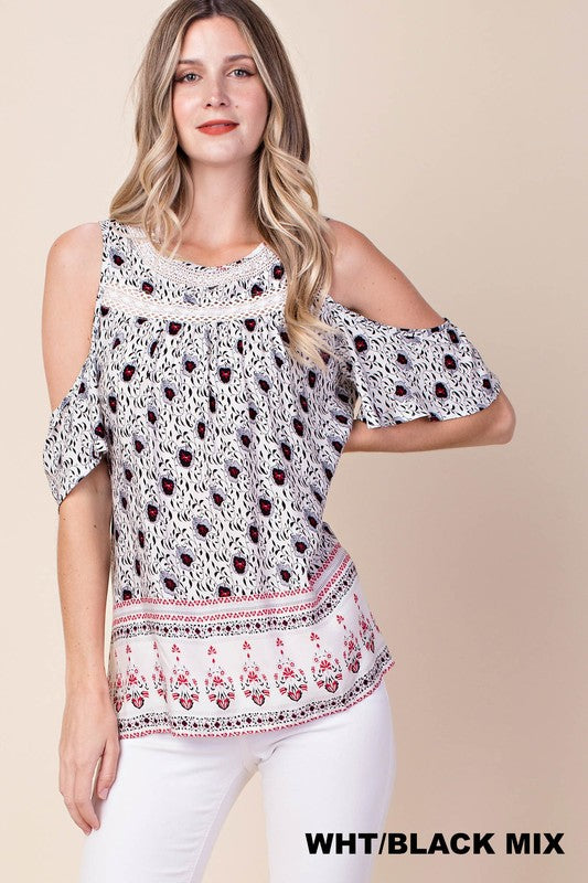 Border Print Cold Shoulder Top