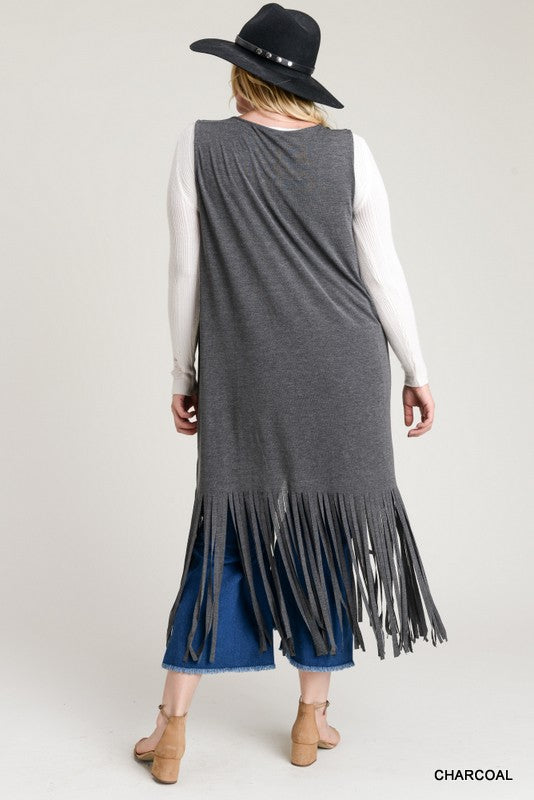 Morning Glory Fringe Vest Plus