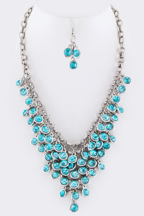 Crystal Drop Statement Necklace - Aqua