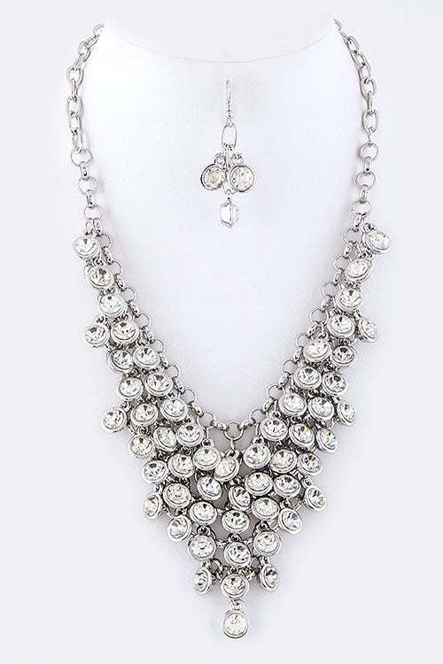 Crystal Drop Statement Necklace - Clear