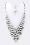 Crystal Drop Statement Necklace Set - Clear