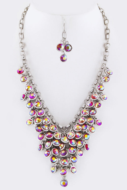 Crystal Drop Statement Necklace - Red