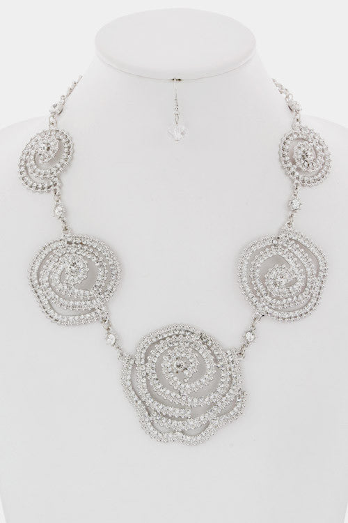 Crystal Rose Necklace Set