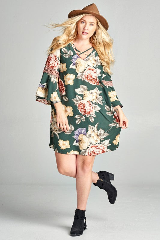 Flower Power Plus Tunic Dress - Olive