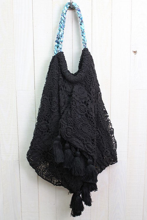 Crochet Beach Bag - Black